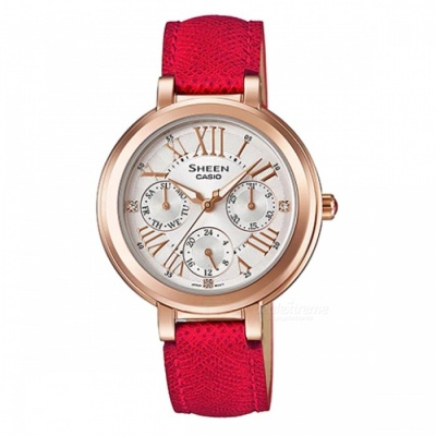 Casio SHE-3034GL-7B Multi-Hand Watch - Red + Pink Gold