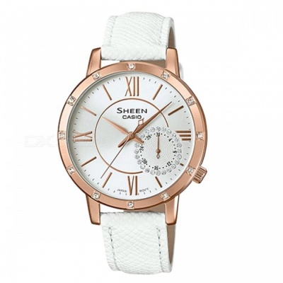 Casio SHE-3046GLP-7A Multi-Hand Watch - White + Pink Gold