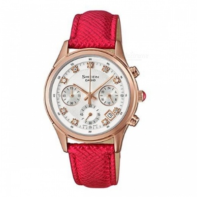 Casio SHE-5023GL-7B Sheen Leather Band Watch - Rose Gold + Red