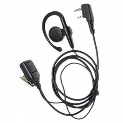 Universal G-Type Big Ear Hanging Walkie Talkie Headphones with Large PTT Button - Black