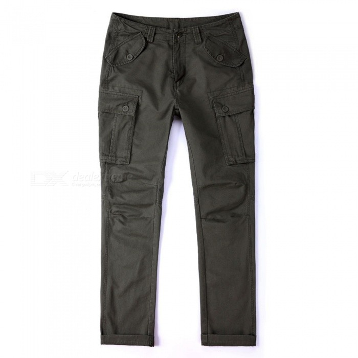 CTSmart 1683 Spring Summer Men's Solid Color Cotton Slim Straight Pants Trousers - Army Green (32)