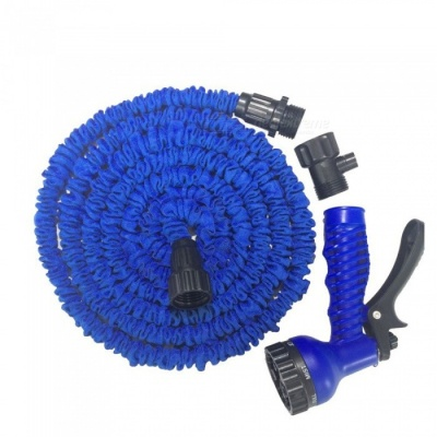 CARKING New Latex Garden Water Hose, 15m Expanding Flexible Water Gun Car Wash with Spray Nozzle - Blue
