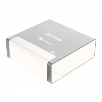 TUTUO 40W 4 Ports USB Charger Fast Quick Charge 3.0 Desktop Power Adapter for Samsung S8 Xiaomi IPHONE - Silver