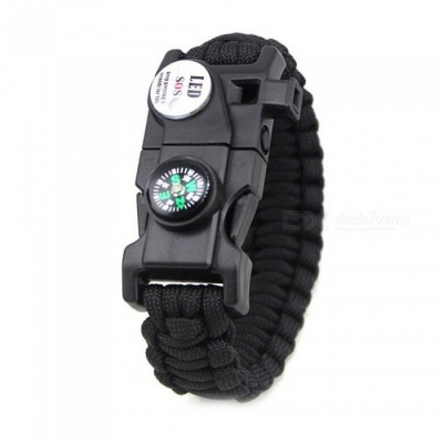 CTSmart 538657 Outdoor Multi-purpose Survival Paracord Bracelet Camping Mountaineering Compass with LED Light - Black