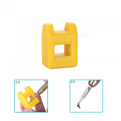 OJADE Professional Mini Magnetizer Demagnetizer, Split Magnetic Pick Up Tool - Yellow