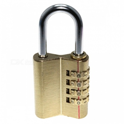 OJADE 4-Digit Brass Lock Password Padlock w/ Resettable Combination for Cabinet