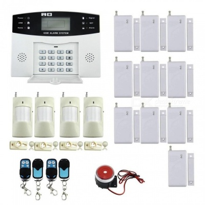 IN-Color Quad-Band Wireless Home Office Security System Kit, Remote Control Intelligent LED Display GSM Alarm Set - EU Plug