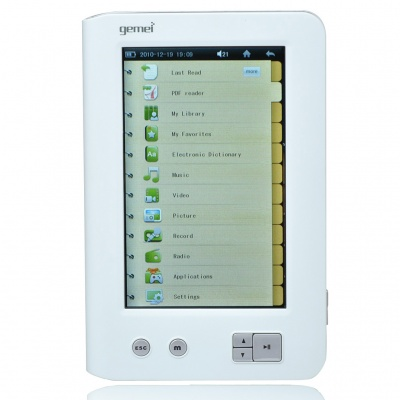"DiyoMate C3 4.3"" Touch Screen E-Book Reader Media Player with Voice Recorder/TF - White (4GB)"