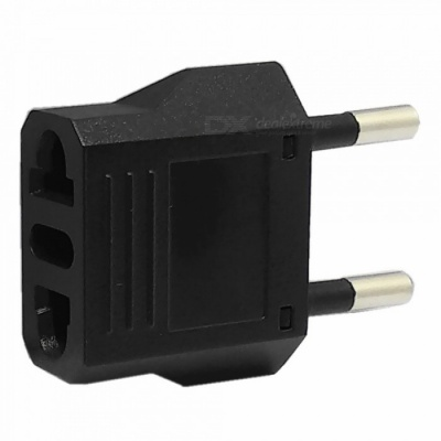 PC + Brass 125/250V 6A US Socket to EU Plug - Black
