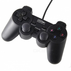 Dual Shock USB Vibrating Joypad Gamepad w/ 1.2M Cable for PC - Black