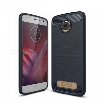 Naxtop Wire Drawing Carbon Fiber Textured TPU Brushed Finish Soft Phone Back Cover Case For Moto Z2 Play