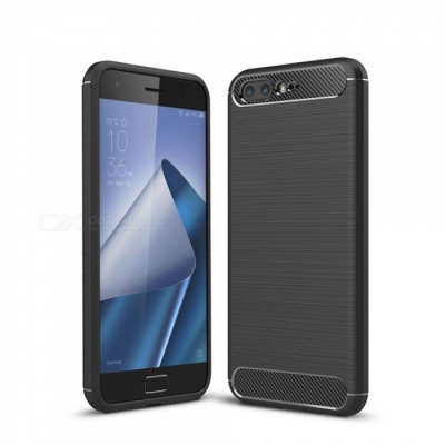 Naxtop Wire Drawing Carbon Fiber Textured TPU Brushed Finish Soft Phone Back Cover Case For Asus Zenfone 4 Pro ZS551KL