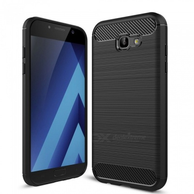 Naxtop Wire Drawing Carbon Fiber Textured TPU Brushed Finish Soft Phone Back Cover Case For Samsung Galaxy A7 (2017)