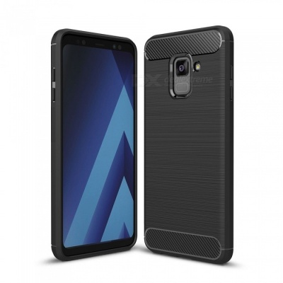 Naxtop Wire Drawing Carbon Fiber Textured TPU Brushed Finish Soft Phone Back Cover Case For Samsung Galaxy A8 (2018)