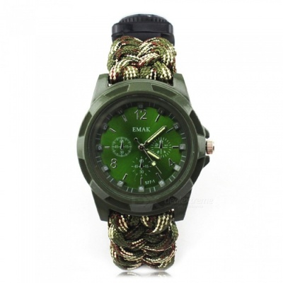 CTSmart 3665338 Outdoor EDC Watch with Survival Paracord Bracelet, Flint, Compass, Thermometer - Army Green Camouflage