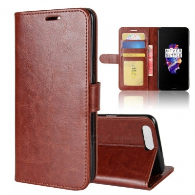 Protective PU Leather Case for Oneplus 5 - Brown