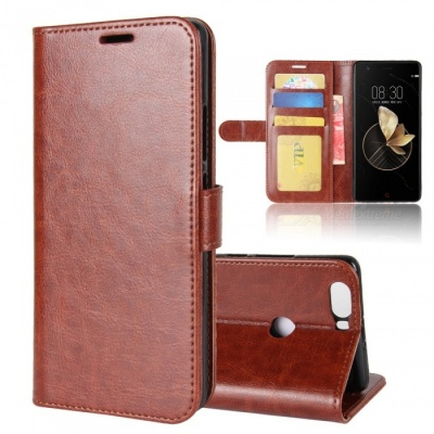 Protective PU Leather Case for ZTE Nubia Z17 - Brown