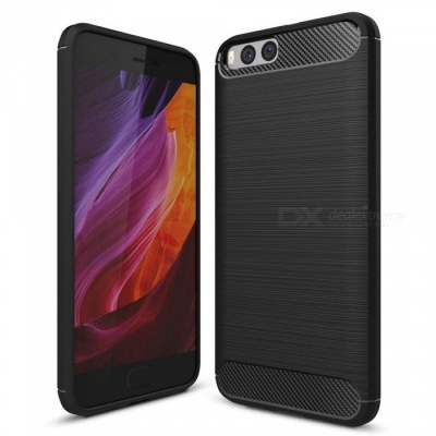 Naxtop Wire Drawing Carbon Fiber Textured TPU Brushed Finish Soft Phone Back Cover Case For Xiaomi Mi 6 - Black