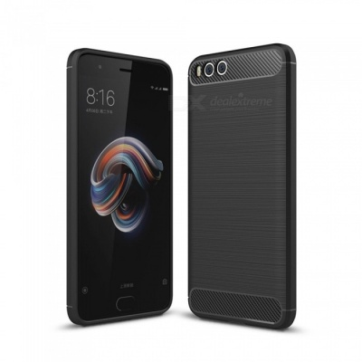 Naxtop Wire Drawing Carbon Fiber Textured TPU Brushed Finish Soft Phone Back Cover Case For Xiaomi Mi Note 3 - Black