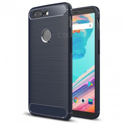 Naxtop Wire Drawing Carbon Fiber Textured TPU Brushed Finish Soft Phone Back Cover Case For OnePlus 5T