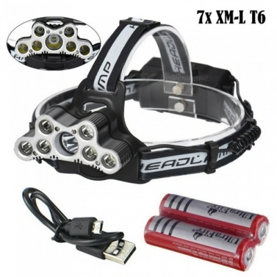 AIBBER TONE T6 Q5 7-LED USB Charging Head Light Headlamp Torch Flashlight with SOS Function for Outdoor Camping
