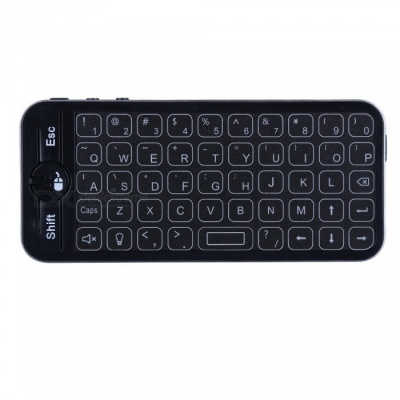 iPazzPort Mini Slim 2.4G Wireless Keyboard with 3-Color Backlight - Black