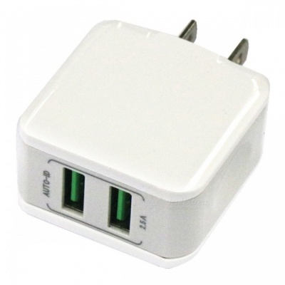 Portable Dual USB 12.5W 2.5A Mobile Phone Fast Charger - US Plug