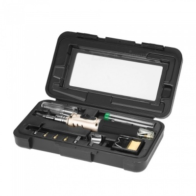 ZHAOYAO HS-1115K Professional 10-in-1 Butane Gas Soldering Iron Set, Welding Equipment - Golden