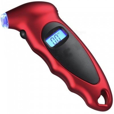 ZHAOYAO Digital Tire Pressure Gauge with Backlit LCD and Non-Slip Grip for Car Truck Bicycle - Red
