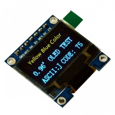 Produino 0.96 Inch 128 x 64 Yellow & Blue OLED Display Module SPI Interface 7 Pin for Arduino