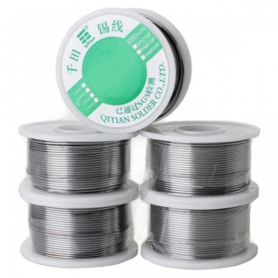High-Quality Tin Solid Solder Wire Reel Spool - Silver (1.2mm / 80G, 5PCS)