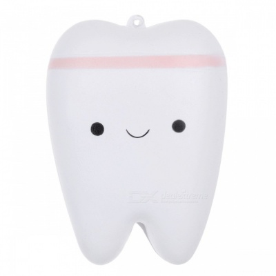 JEDX Creative Novelty Tooth Style Stress Reliever Squeeze Toy Pendant with Key Ring - Pink + White