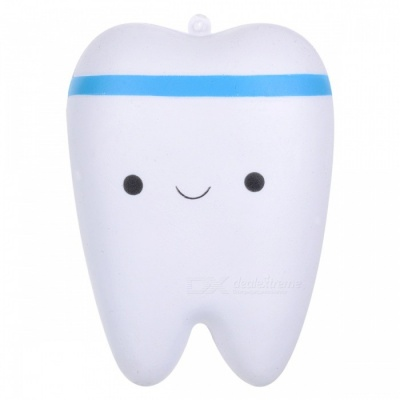 JEDX Creative Novelty Tooth Style Stress Reliever Squeeze Toy Pendant with Key Ring - Blue + White