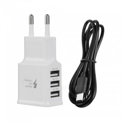 USB 5V 3.0A Quick Charger + Dual Side Plug Micro USB Data Cable - Black+ White