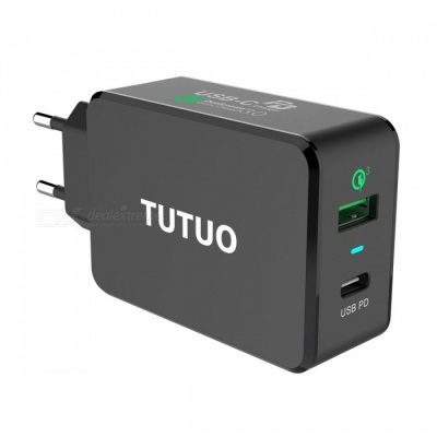 TUTUO USB-C PD Charger, Type-C + Quick Charge 3.0 Wall Charger with Power Delivery, Fast Charge Power Adapter - EU Plug