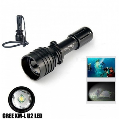 ARCHON D10U Aluminum Alloy Waterproof XM-L U2 860LM 60m Zoomable Diving LED Flashlight Torch for Outdoor Sports