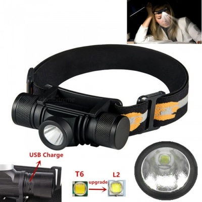 AIBBER TONE XM-L2 LED Headlamp USB Rechargeable Cycling Headlight 4-Mode Dimming Torch Camping Fishing Flashlight