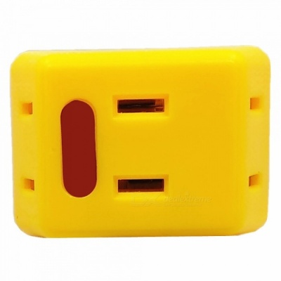 1 to 3 10A 1500W Mini US Plug Power Socket for Low Power Home Appliance - Yellow