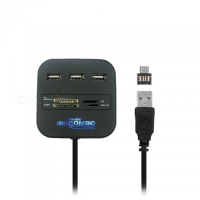Cwxuan 2-in-1 USB 3.1 Type-C, USB 2.0 to 3-Port USB HUB with Card Reader - Black
