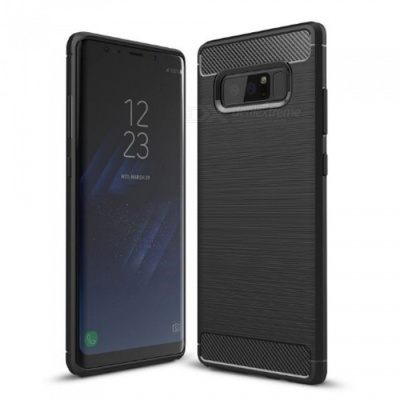 Naxtop Wire Drawing Carbon Fiber Textured TPU Brushed Finish Soft Phone Back Cover Case For Samsung Galaxy Note8