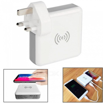 3-in-1 Wireless Mobile Phone USB Charger Adapter, Power Bank (UK Plug)