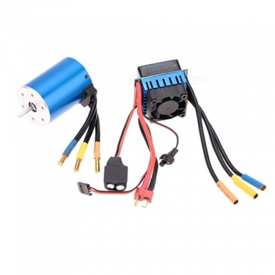 3650 3100KV/4P Sensorless Brushless Motor with 60A Brushless ESC Electric Speed Controller for 1/10 RC Car Truck - Blue