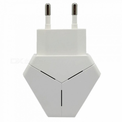 Triangle 5V 2.1A Dual USB EU Plug Charger Power Adapter for IPHONE 7 / 8 / X / SamSung / XiaoMi / HuaWei - White