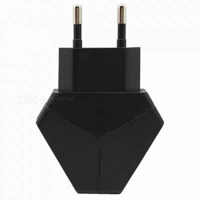 Triangle 5V 2.1A Dual USB EU Plug Charger Power Adapter for IPHONE 7 / 8 / X / SamSung / XiaoMi / HuaWei - Black