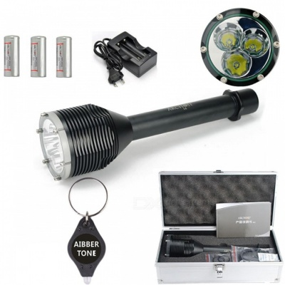 ARCHON D33 W39 Diving Light, 3*XM-L2 T6 LED 3000LM 100M Underwater Photographing Torch with Battery + Charger + Aluminum Box