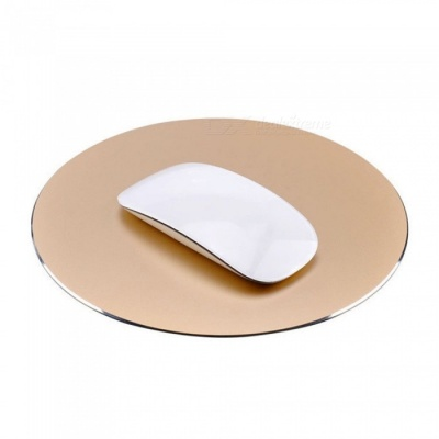 220 x 220mm Aluminium Alloy Round Shaped Mouse Pad - Golden