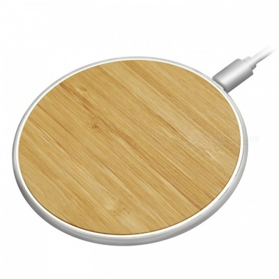 Fast Wireless Charger 10W Bamboo Qi Wireless Charging Pad Newest Model for IPHONE 8 / 8 Plus - Yellow