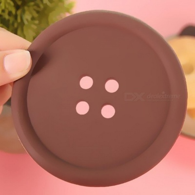 Round Shaped Silicone Cup Mat Pad - Coffee