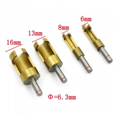 ZHAOYAO 4-Piece 6 / 8 / 13 / 16mm Sleeve-Type Titanium Plated Steel Round Cork Drill Bits for Woodworking Hole - Golden