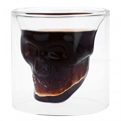 Novelty Skeleton Pattern Glass Drinking Cup - Transparent